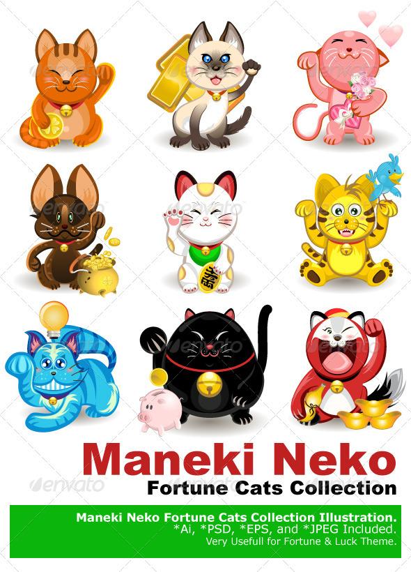 Maneki Neko Fortune Cat Collection - Animals Characters