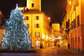 Christmas tree on central plaza. Alba, Italy. - PhotoDune Item for Sale