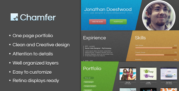 Chamfer - One Page Creative Portfolio - Creative PSD Templates