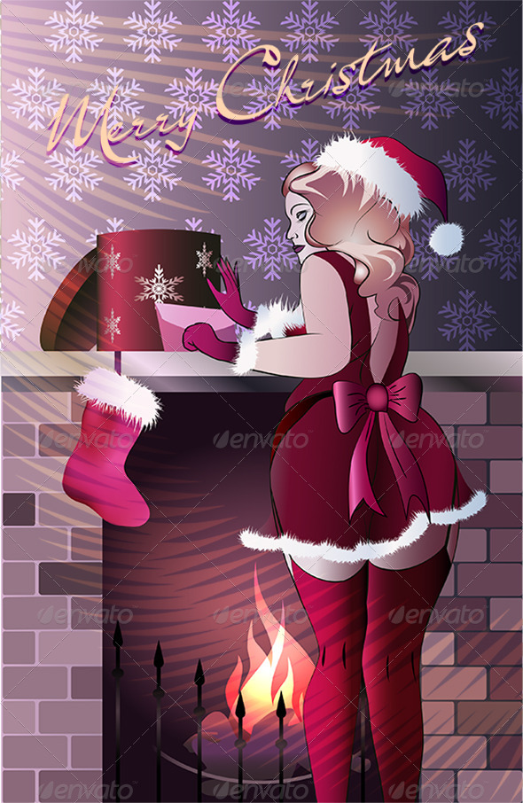 Mrs Santa Wearing Gifts in Purple - Christmas Seasons/Holidays