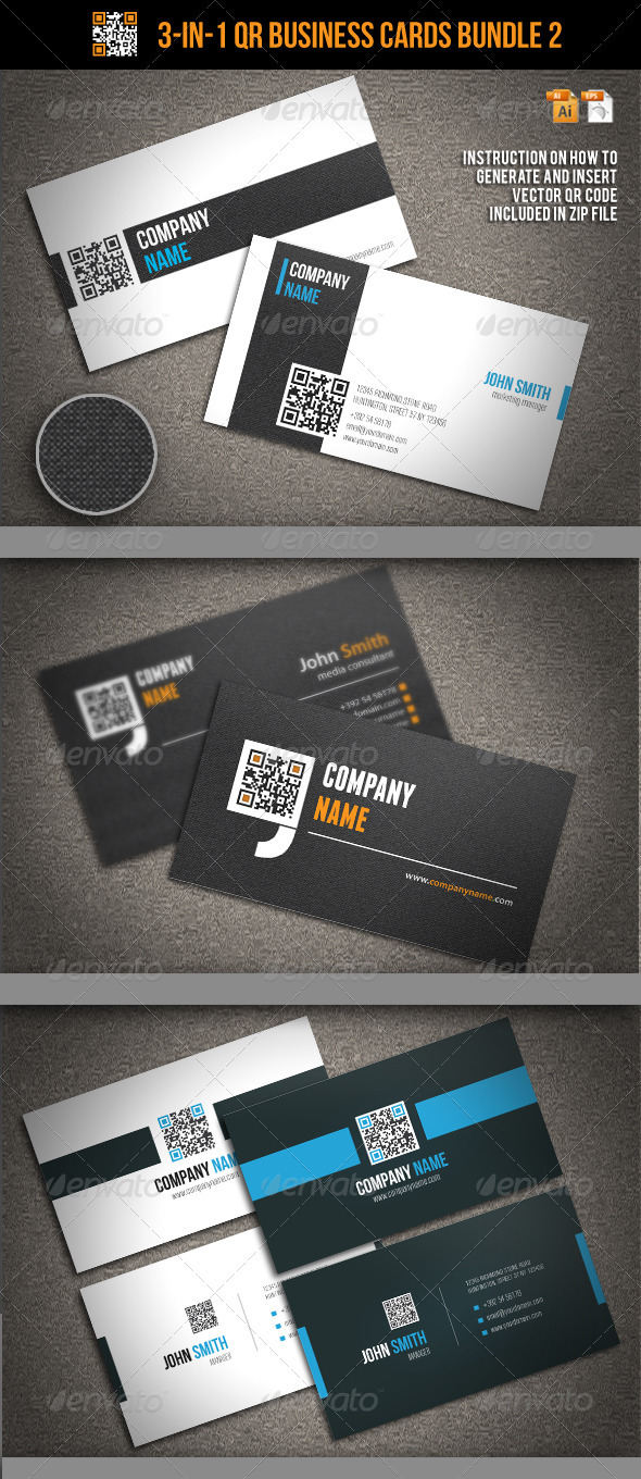 3-In-1 QR Business Cards Bundle 2 - Corporate Business Cards