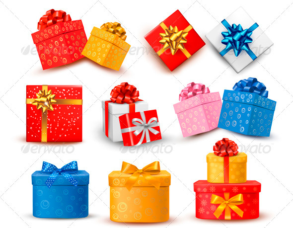 Set of Colorful Gift Boxes with Bows and Ribbons  - Seasons/Holidays Conceptual