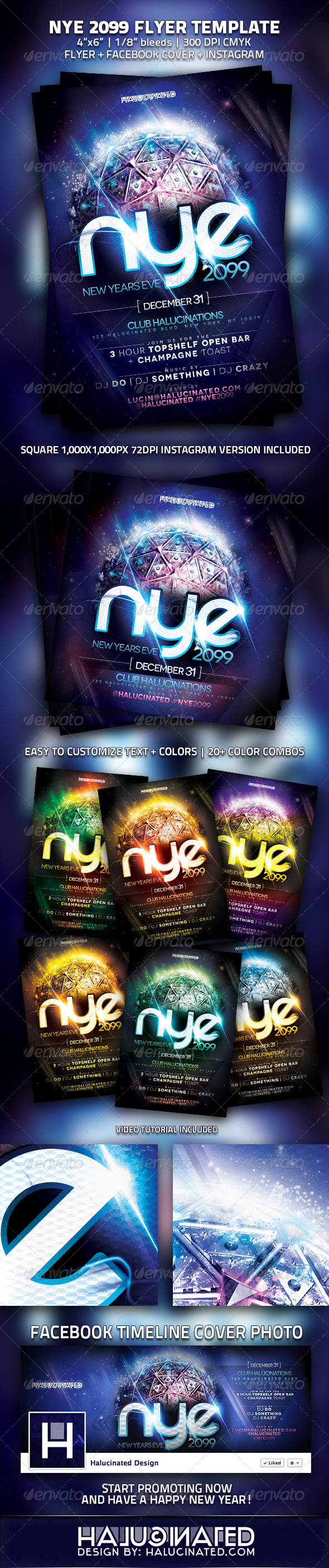 NYE 2099 Party Flyer Template - Clubs & Parties Events