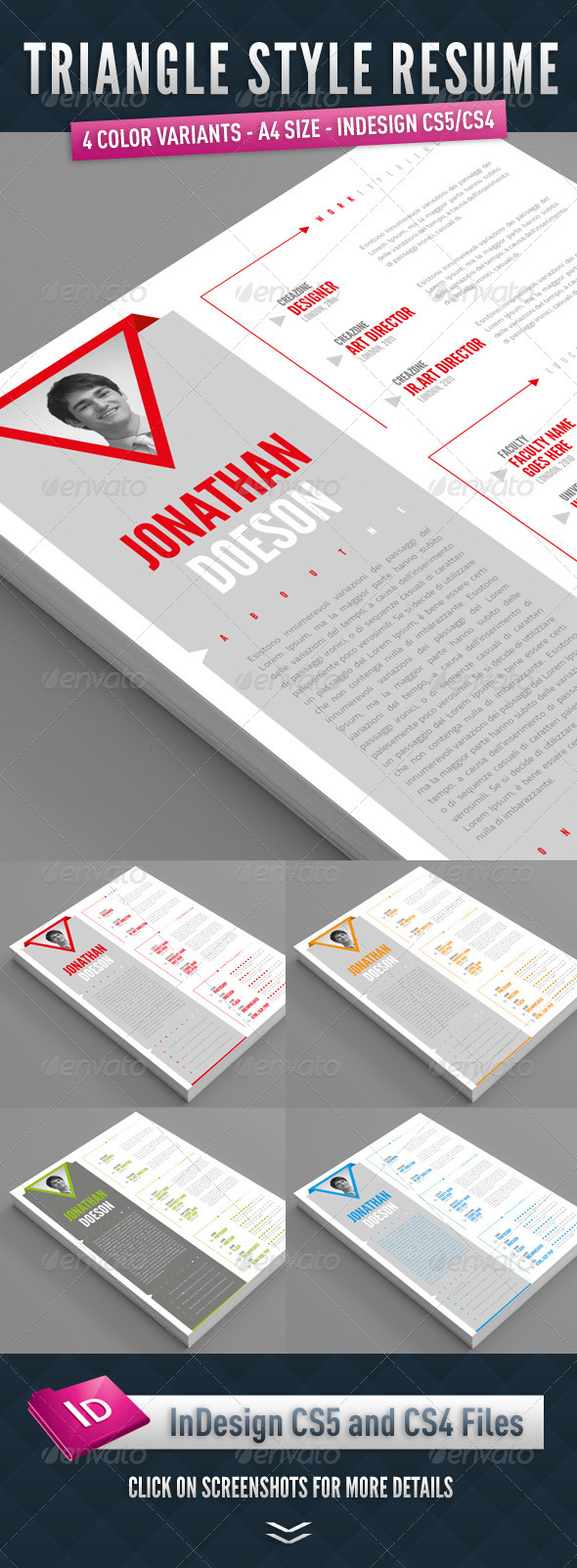 Triangle Style Resume - Resumes Stationery