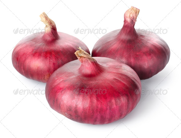 Three red onions - Stock Photo - Images