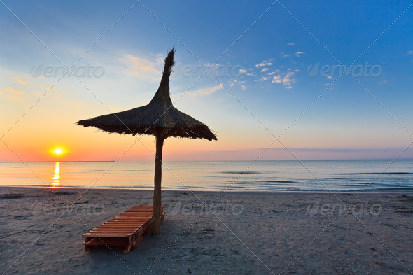 sunrise on the beach  - Stock Photo - Images