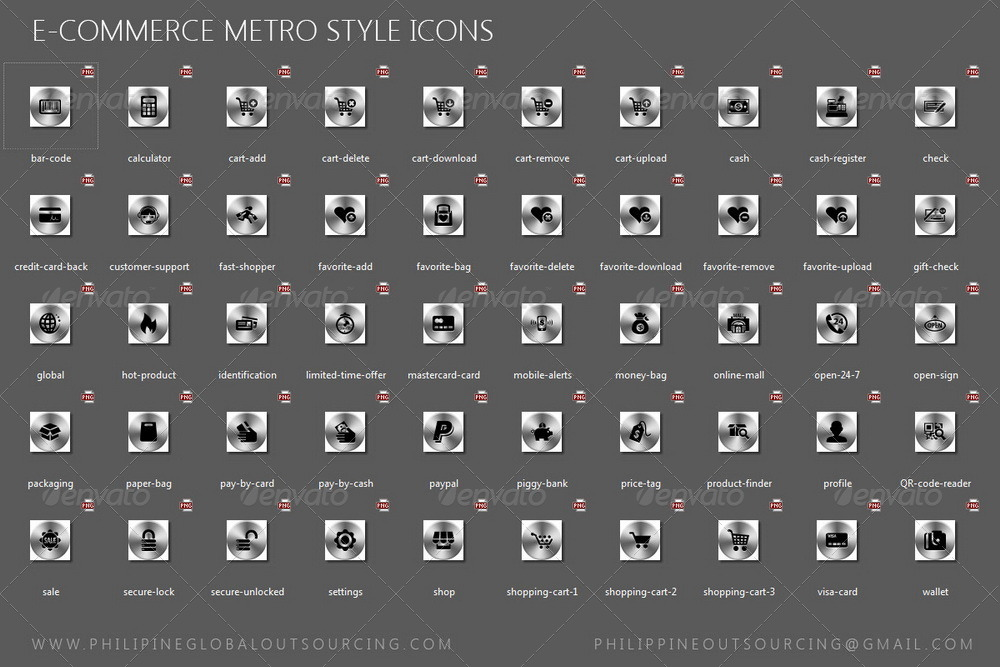 40 Designs with 900 E-commerce png Icons Metro + iOS
