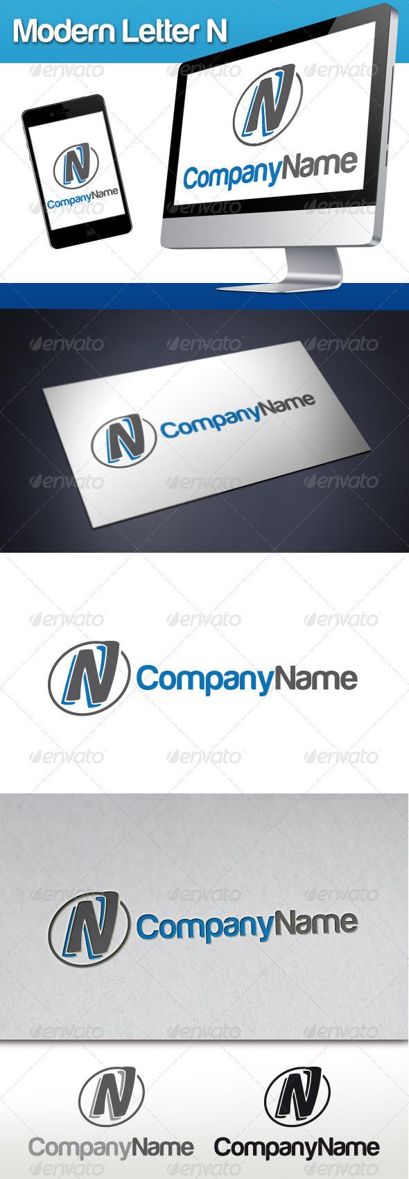 Modern Letter N Logo - Letters Logo Templates