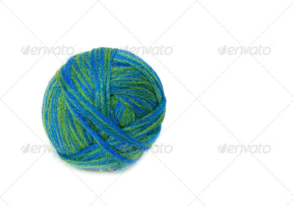 Ball of wool. Isolated on white background. - Stock Photo - Images