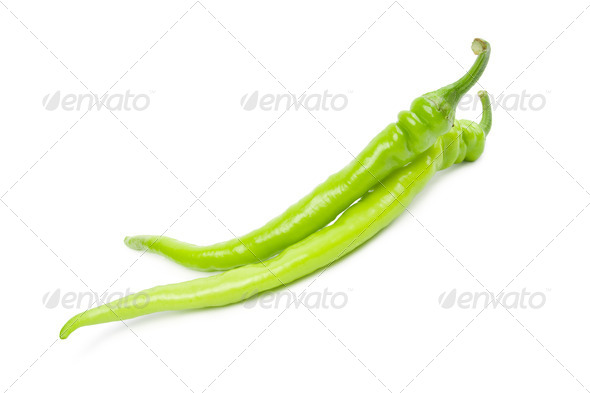 Green hot peppers. - Stock Photo - Images