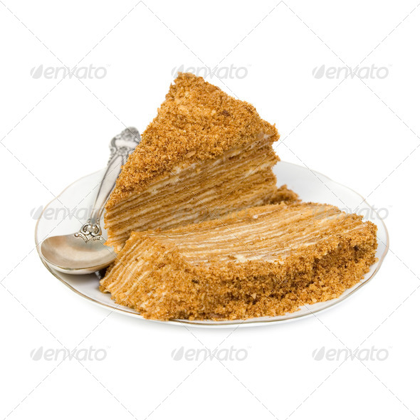 Slices of cake on a saucer - Stock Photo - Images