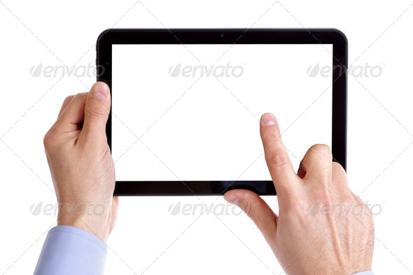 Holding and touching digital tablet - Stock Photo - Images