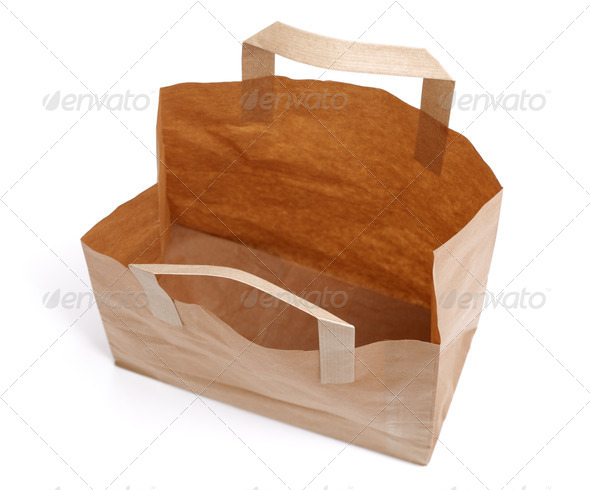 Recycled paper bag from above - Stock Photo - Images