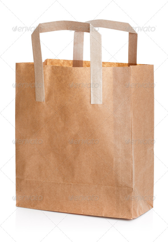 Recycled brown paper shopping bag - Stock Photo - Images