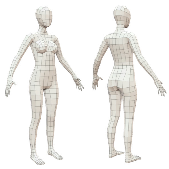 Realistic Adult Female Base Mesh - 3DOcean Item for Sale
