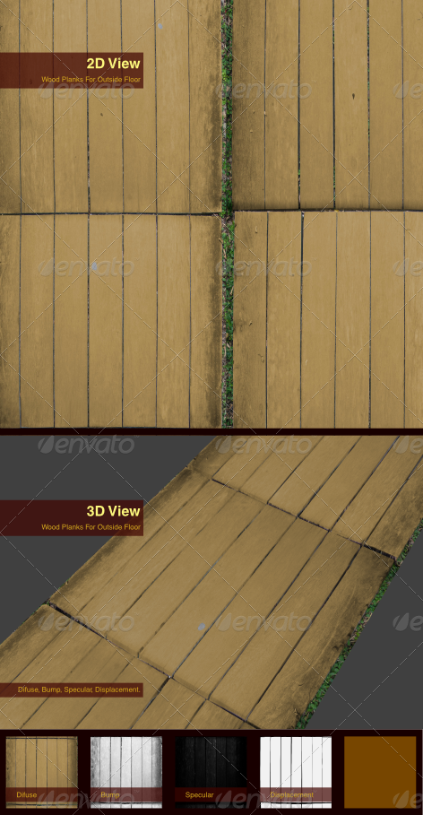 Wood Planks For Outside Floor - 3DOcean Item for Sale