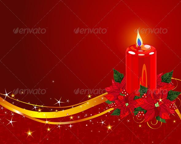 Christmas Candle with Poinsettia - Christmas Seasons/Holidays