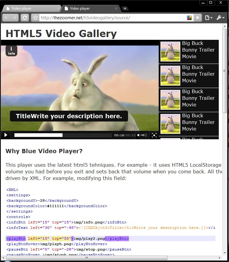 HTML5 Blue Video Player with Playlist / Gallery