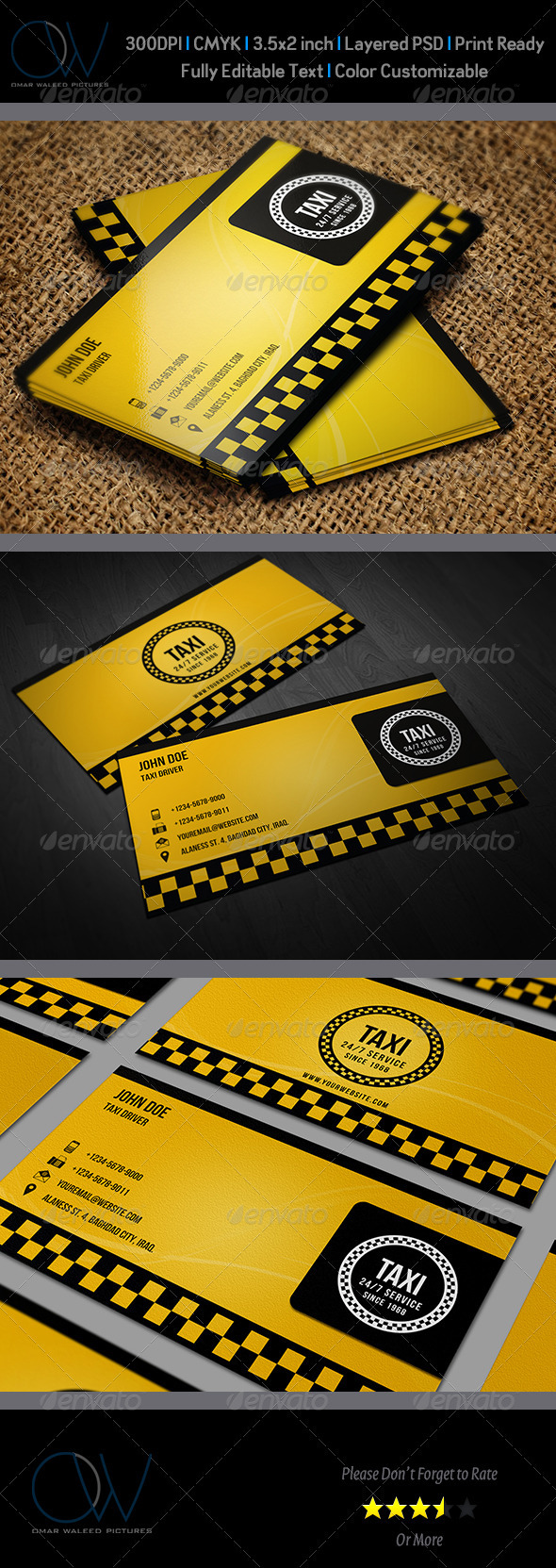 Taxi Business Card - Industry Specific Business Cards