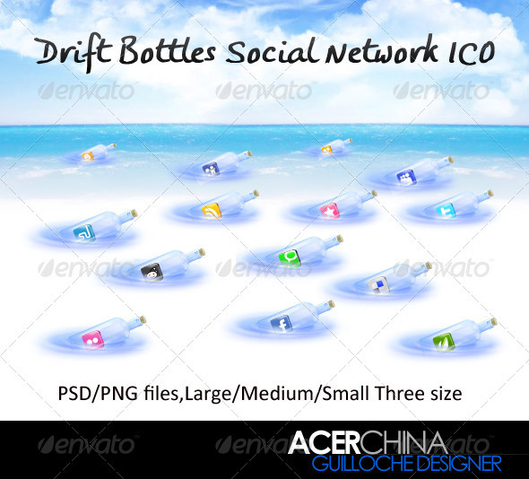Drift Bottles Social Network Ico - Web Icons