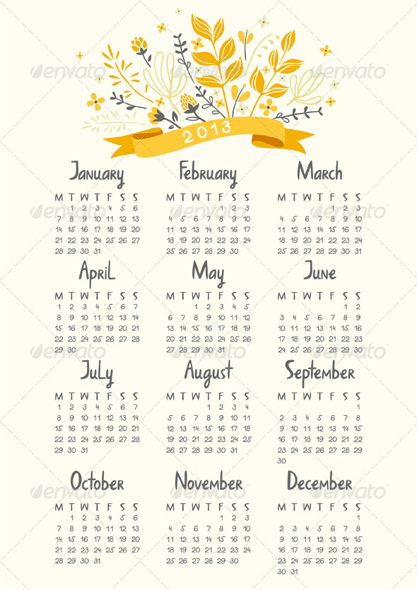 Calendar 2013 - Miscellaneous Vectors