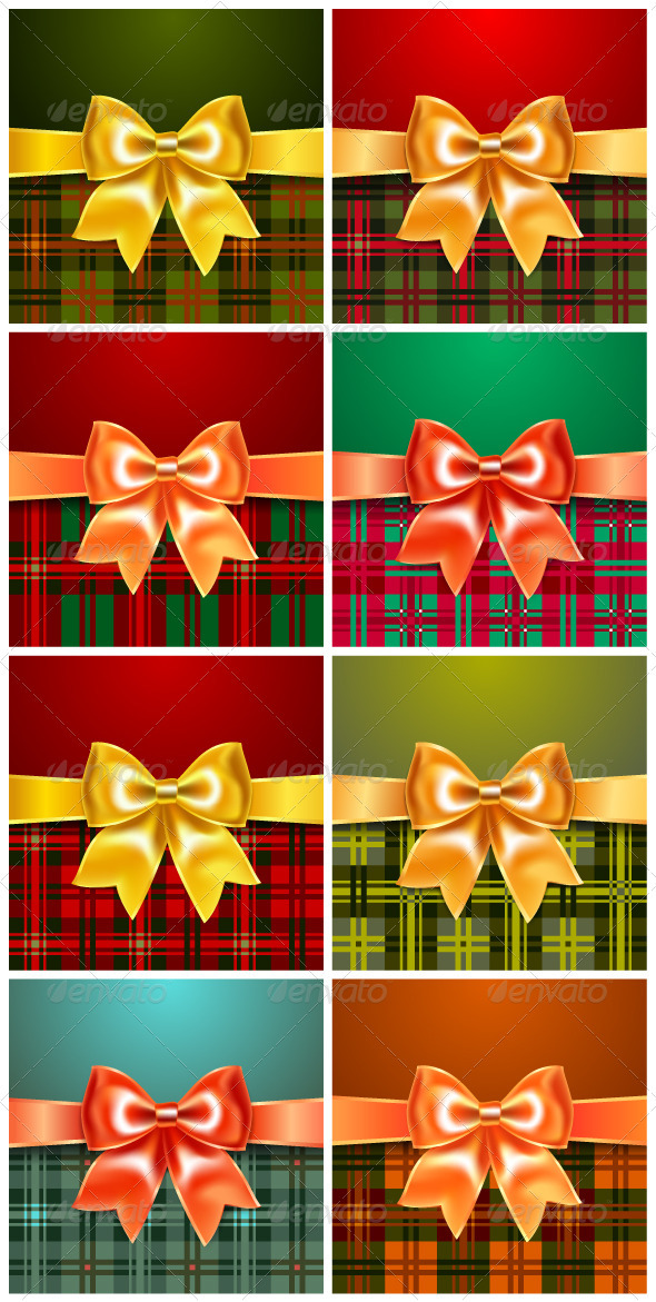 Set of Backgrounds with Satin Ribbon Bow - Seasons/Holidays Conceptual