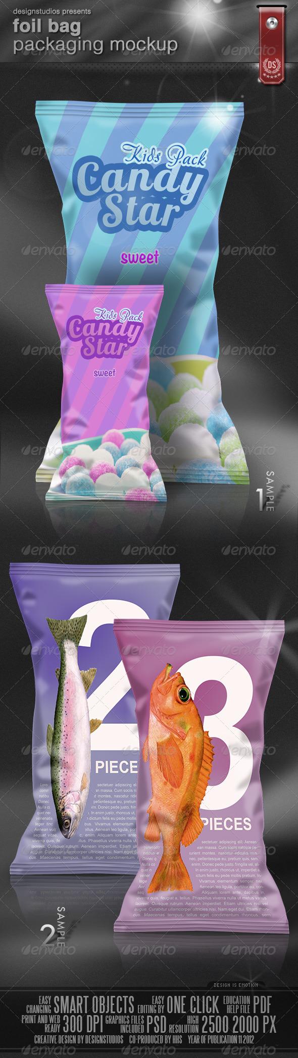 Foil Bag Packaging Mock-Up - Food and Drink Packaging