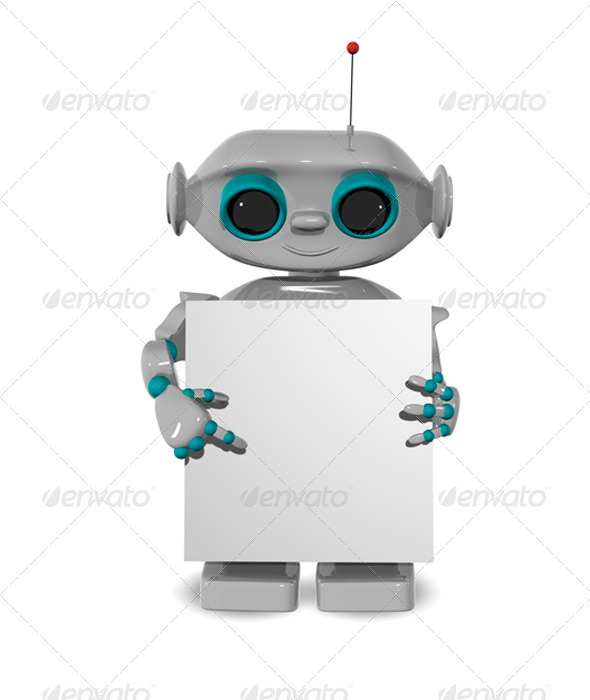 Robot with a Poster - Characters 3D Renders