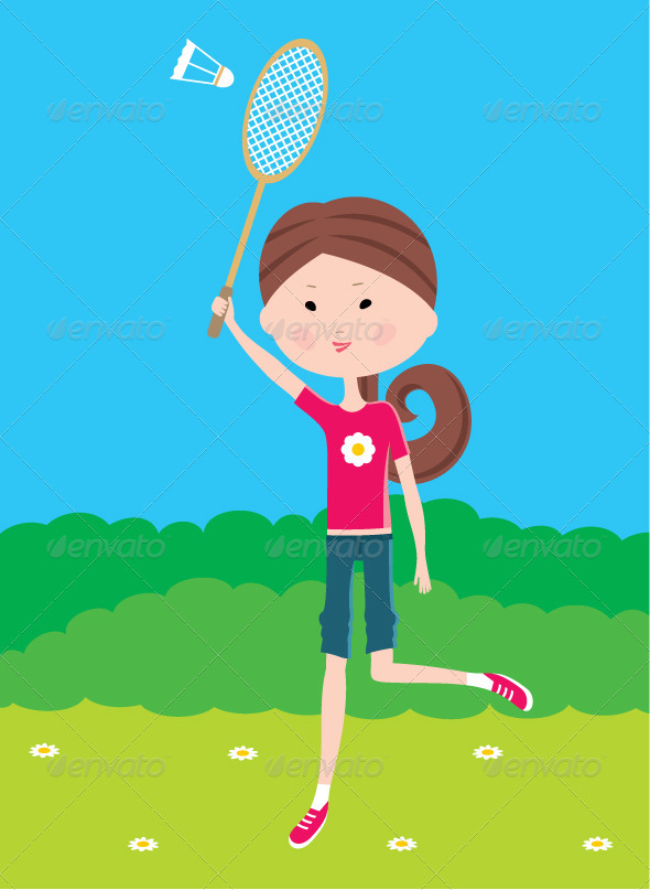 Cartoon Girl Plays Badminton - People Characters