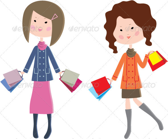 Two Cartoon Women with Packages - People Characters