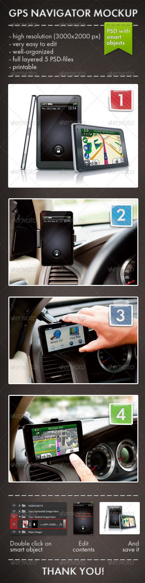 GPS Navigator Mockup - Mobile Displays