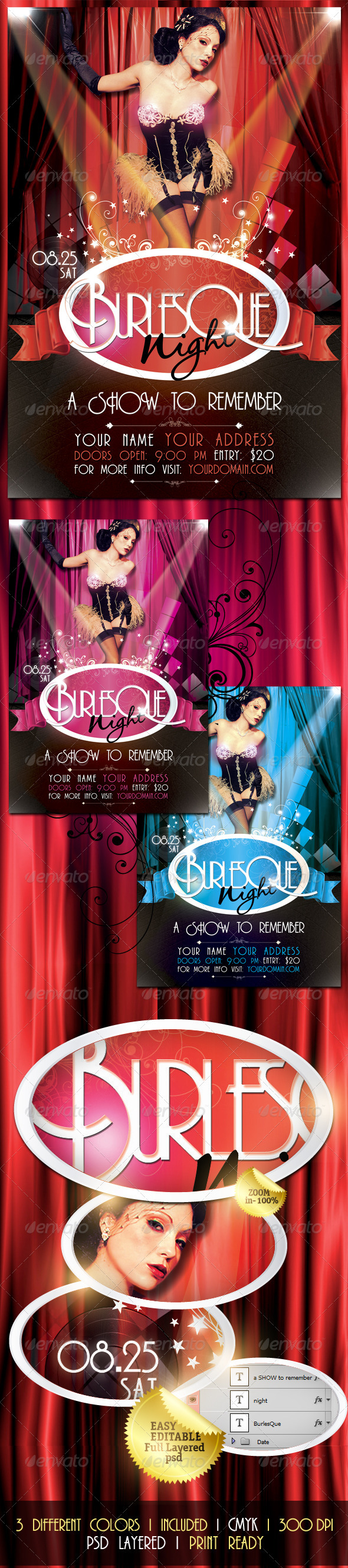 Burlesque Night Flyer - Clubs & Parties Events