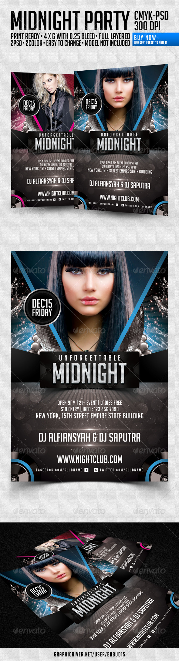 Unforgettable Midnight Flyer Template - Clubs & Parties Events