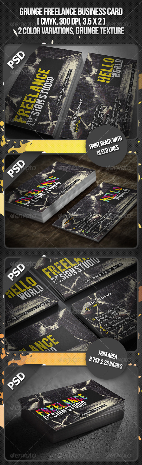 Grunge Freelance Business Card - Grunge Business Cards