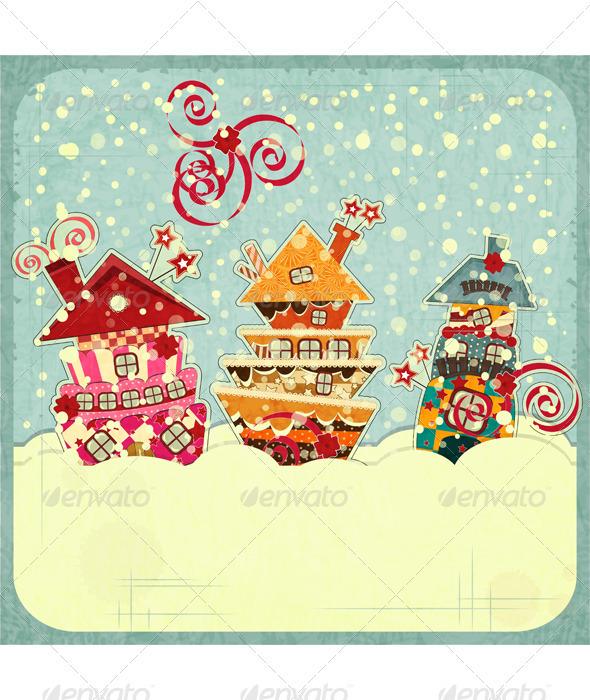 Christmas Houses and Snow - Christmas Seasons/Holidays