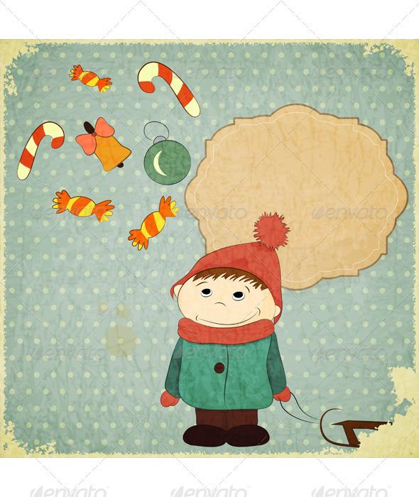 Christmas Card - Little Boy and Vintage Christmas  - Christmas Seasons/Holidays
