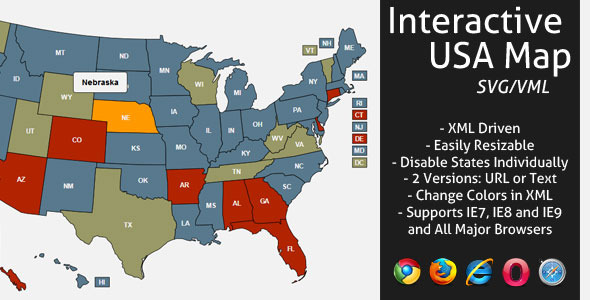 Interactive SVG USA Map by LGLab CodeCanyon