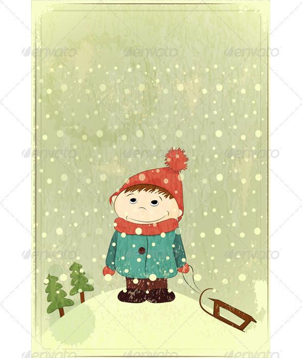 Christmas Card - Little Boy and Sled - Christmas Seasons/Holidays