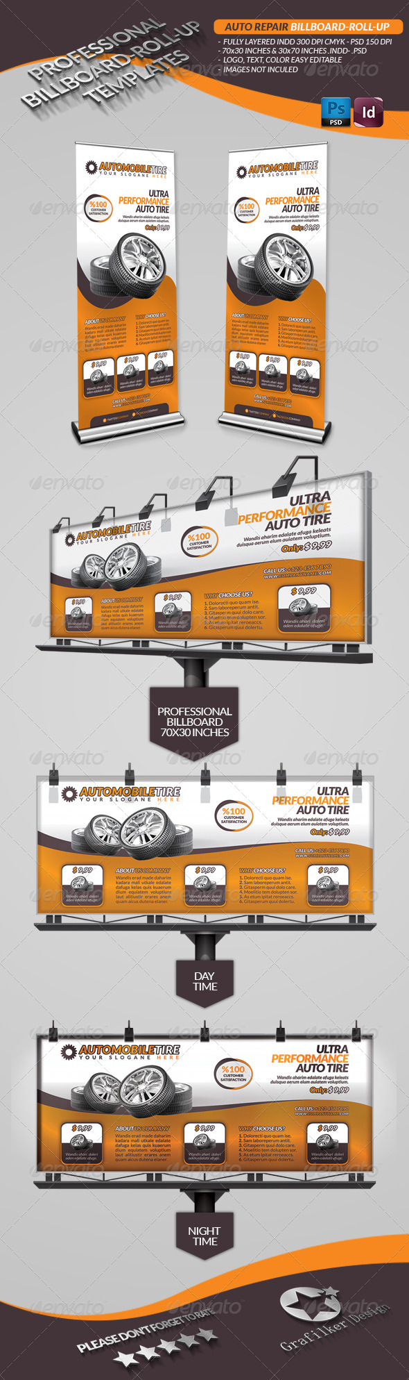 Automobile Repair Billboard - Signage Print Templates