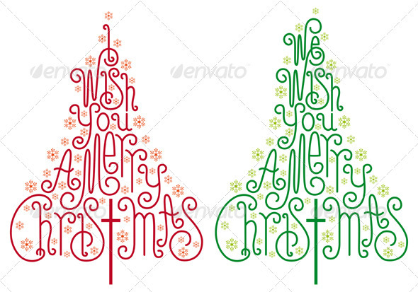 Typographic Christmas Trees Vector - Christmas Seasons/Holidays
