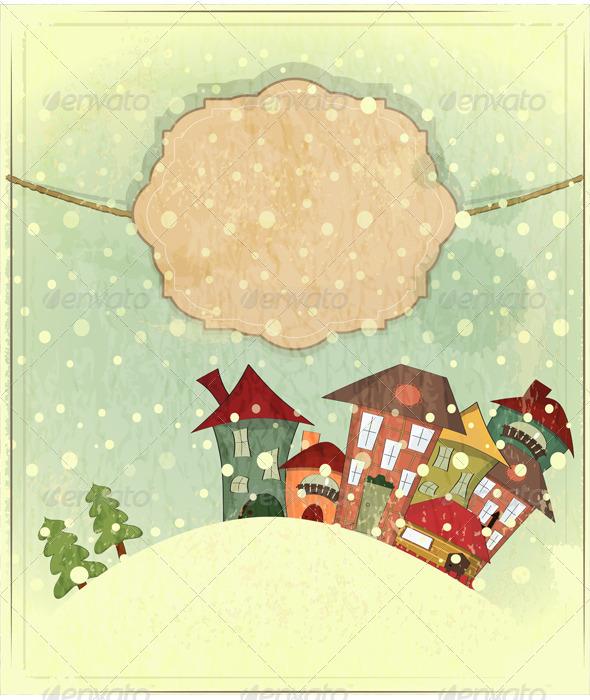 Small Houses and Snow - Christmas Seasons/Holidays
