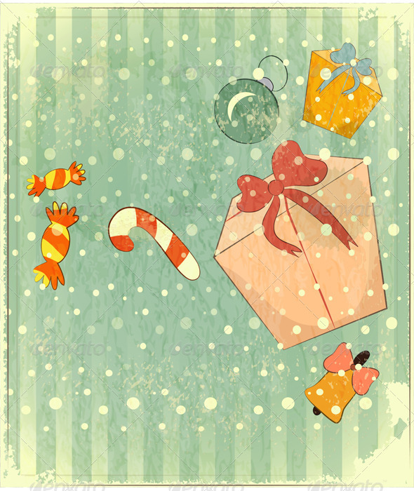 Christmas Retro Postcard with Toys and Gift Box - Christmas Seasons/Holidays