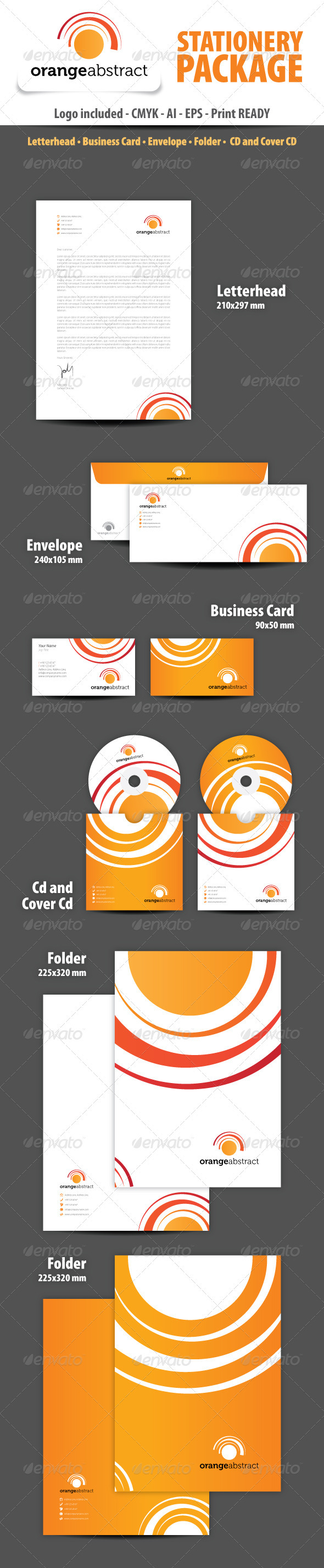 Orange abstract Stationery Package - Stationery Print Templates