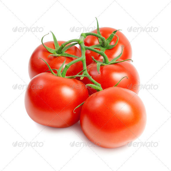 Red tomatoes on the green branch - Stock Photo - Images