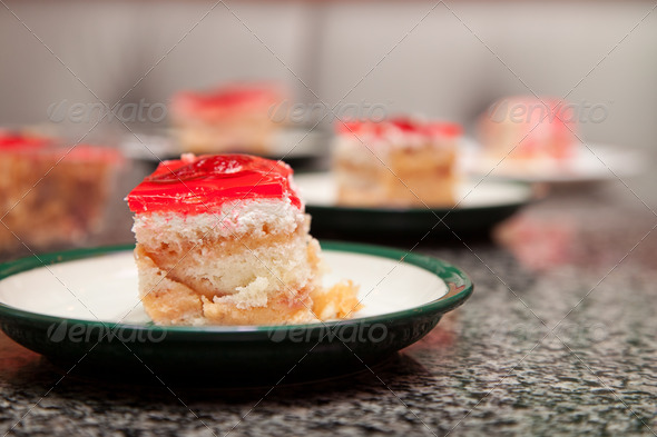 A piece of cake with strawberries - Stock Photo - Images