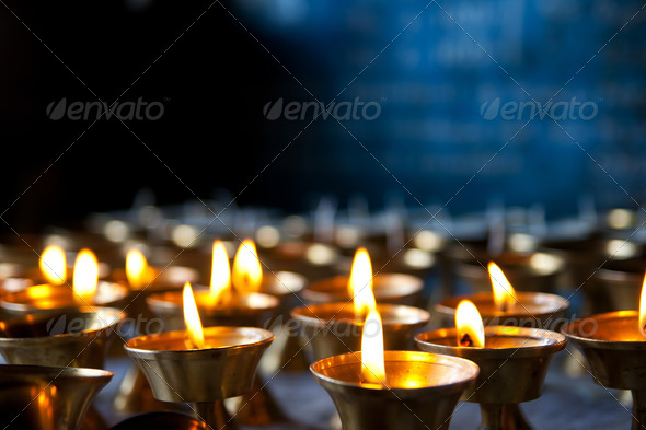Burning candles - Stock Photo - Images