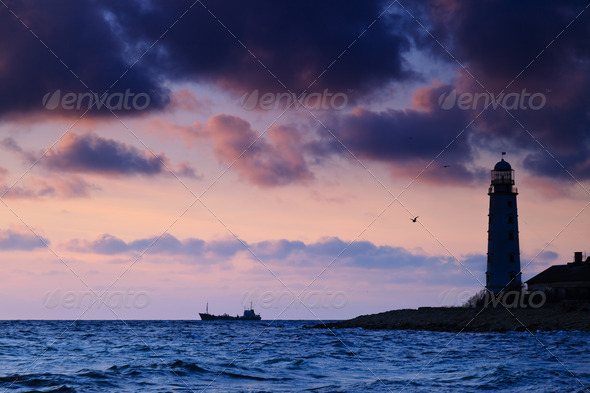Seascape at sunset. - Stock Photo - Images