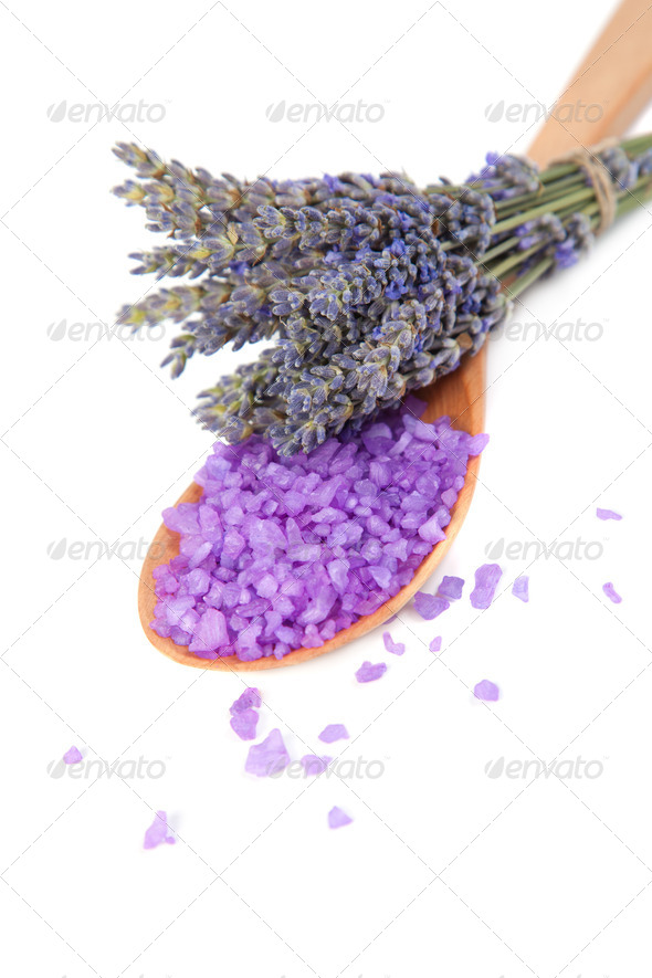 Flowers lavender and sea salt for bath - Stock Photo - Images