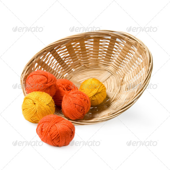 Woven basket with threads. - Stock Photo - Images