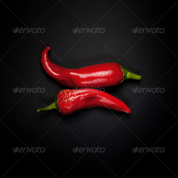 Two pods of red pepper - Stock Photo - Images